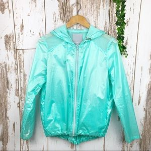 Minty Teal Lightweight Packable Hooded Rain Jacket